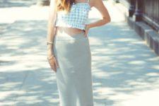 With gray midi skirt, flats and sunglasses