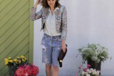 With gray shirt, printed crop blazer, shoes and black clutch