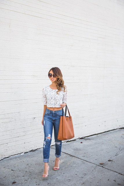 With jeans, high heels and brown tote