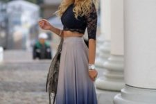 With lace top and bag