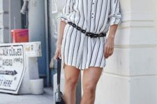 With leather belt, lace up sandals and small bag