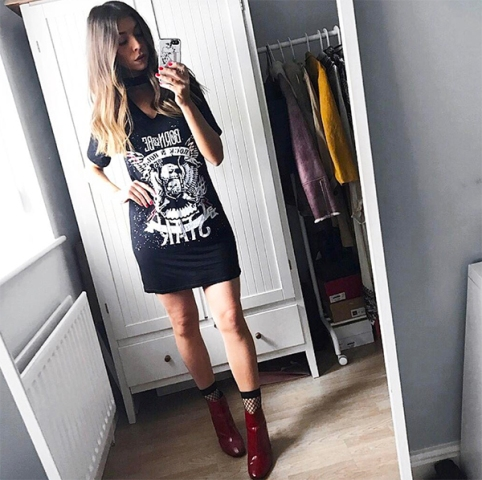 With long t-shirt and marsala boots
