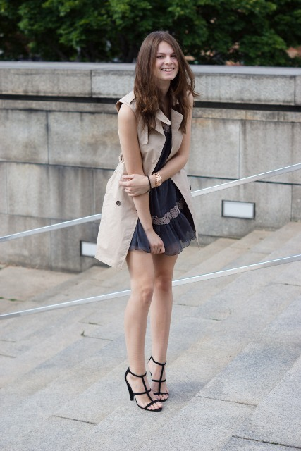 With mini dress and black sandals