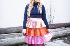 turtleneck outfit with a skirt