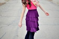With pink shirt, floral scarf, black tights and black ankle boots