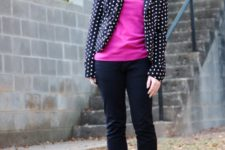 With pink shirt, straight pants and flats