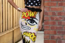 nice comics-inspired skirt outfit