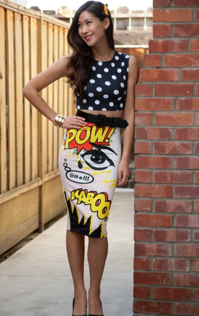 nice comics inspired skirt outfit