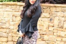 With printed skirt and black bag
