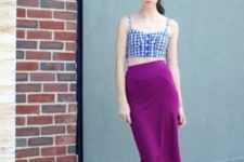 With purple midi skirt and black lace up shoes