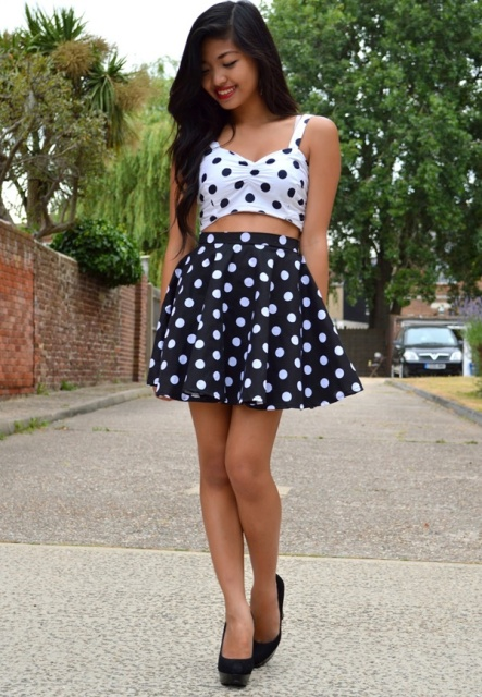 With skater skirt and black shoes