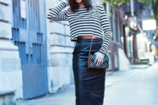 With striped crop shirt, midi skirt, leopard boots and polka dot bag