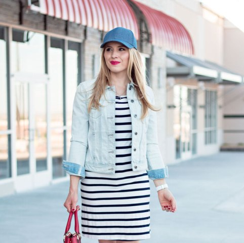spring stripped dress look