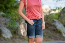 With t-shirt, flat sandals and bag