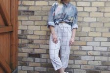 With watercolor shirt and white platform sandals