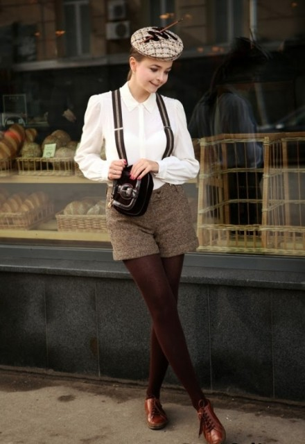 With white blouse, printed cap, tights, brown shoes and clutch