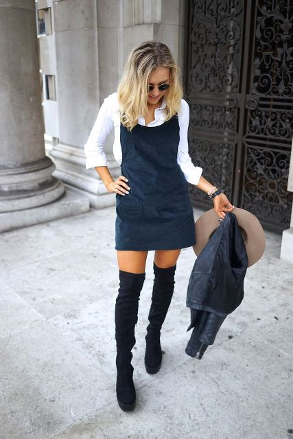 With white button down shirt, over the knee boots, wide brim hat and jacket