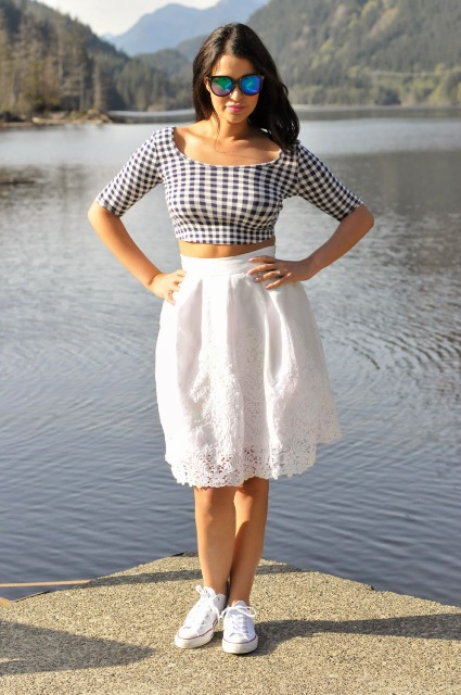 With white lace skirt and sneakers