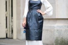 With white maxi dress and black pumps
