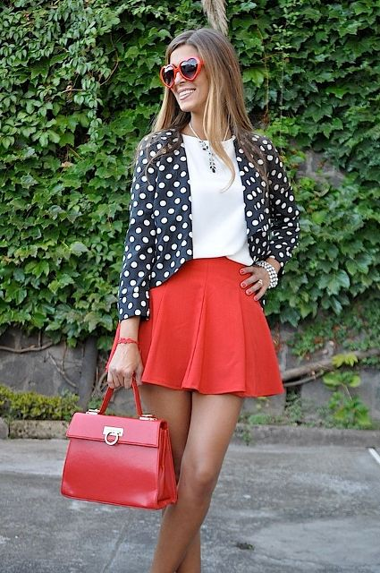 With white shirt, red mini skirt and red leather bag