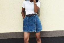 With white t-shirt, denim mini skirt and high heels