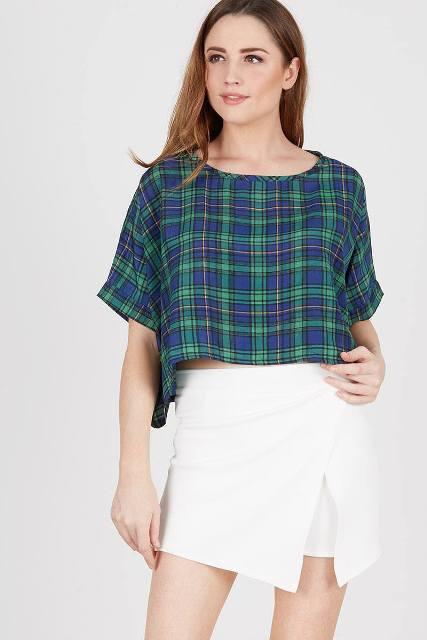 With white wrap mini skirt