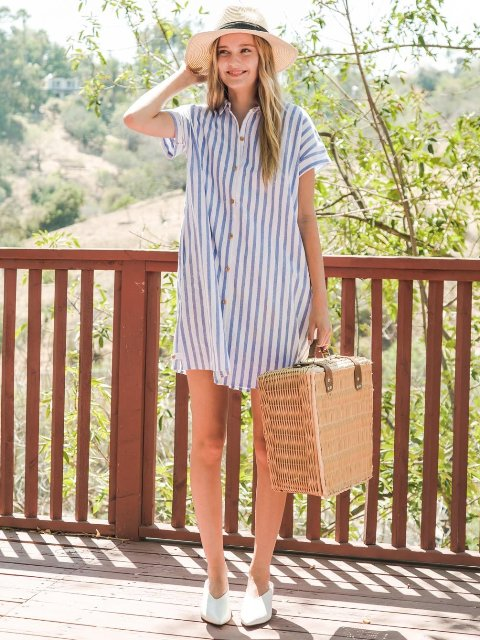 With wide brim hat, bag and white mules