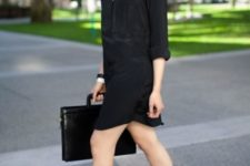 02 a black shirtdress, black ankle strap heels and a black bag for a simple office look