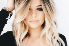 02 a long bob with ombre blonde coloring and beachy waves looks very romantic