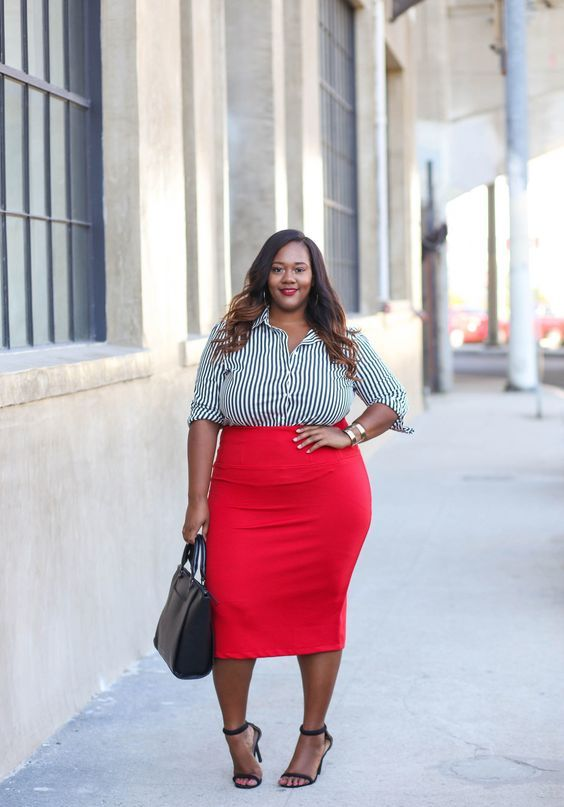 a red midi pencil skirt, a striped black and whiet shirt, black shoes and a black bag for a bold professional look