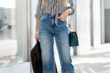 02 blue high waisted cropped jeans, a striped shirt, black heels and a teal bag