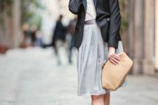 03 a grey knee skirt, a white shirt, a black jacket, a tan clutch and catchy kitten heels