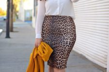 03 a leopard print pencil skirt, a white blouse, nude shoes and a yellow jacket for a bold spring look