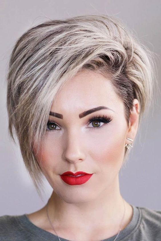 Picture Of An Asymmetric Blonde Long Pixie Haircut Looks