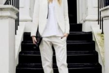 04 a creamy pantsuit, a white button down and black slipons for minimalist chic
