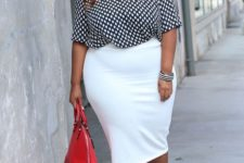 04 a creamy pencil skirt, a printed top with half sleeves, red pompom shoes and a red bag