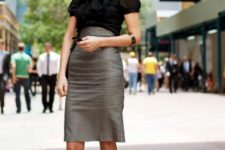 04 a high waisted grey over the knee skirt, a black bow blouse, black kitten heels for a tailored look