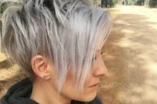 04 a longer pixie haircut with bangs with trendy grey balayage looks daring and cool