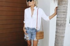 04 a white shirt, ripped blue denim shorts, a brown bag and perforated brown flats for a summer look