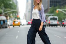 work outfit with navy culottes