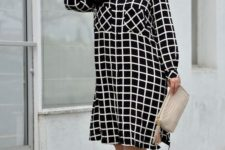 05 a black and white windowpane dress, nude shoes and a matching clutch are ideal for work
