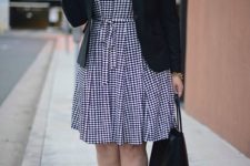 05 a gingham shirtdress in black and white, a black jacket, black heels and a bag for a stylish look