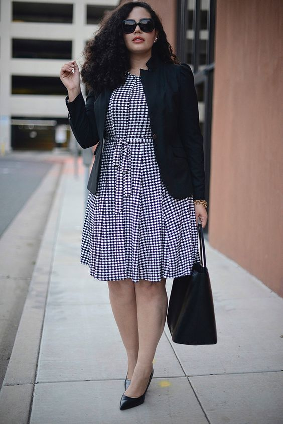 a gingham shirtdress in black and white, a black jacket, black heels and a bag for a stylish look