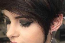 05 a long dark pixie haircut with black balayage on chestnut hair