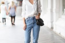 05 a white button down blue cuffed jeans, black lace up sandals and a black bag