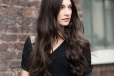 05 messy long dark hair with waves and a sleek top for an all-natural look