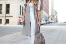 work outfit with a long vest