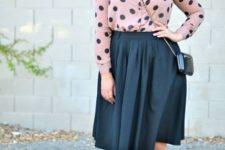 06 a black full knee skirt, a dusty pink polka dot shirt, blush and black heels for a girlish feel