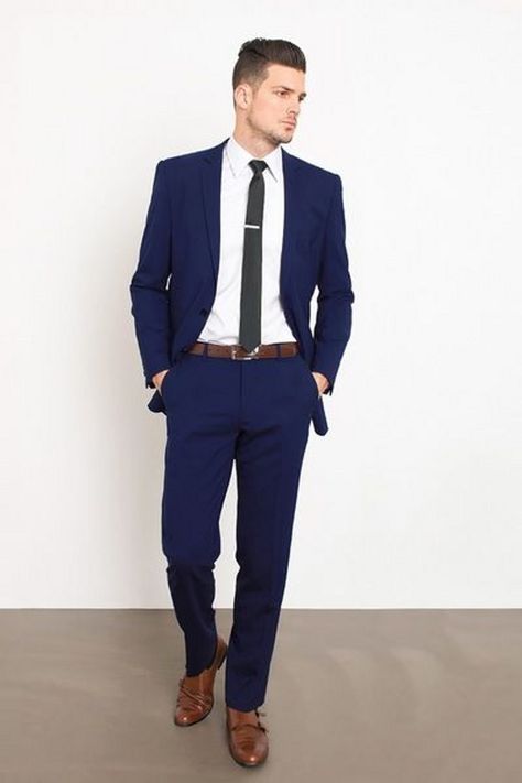 Picture Of A Navy Suit A White Shirt A Black Tie And Brown Shoes