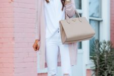 06 a white top, white ripped jeans, blush flats, a blush cardigan and a neutral bag